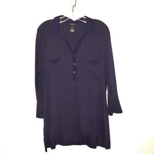 ☀️Ann Taylor Navy Blue Long Sleeves Tunic Top